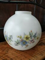 "Vtg Glass Globe Ball Lamp Shade Pastel Floral GWTW Light Parlor 9"", 4"" Fitter"