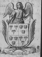 Araldica 24 - stemma araldico De Coriache, originale del 1714, su rame