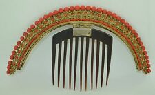 Georgian French Sterling Silver Gold Gilt Coral Tiara ~ Hair Comb