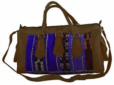 Leather Moroccan Kilim Rug Duffel Bag Sport Gym Luggage Travel Baggage X-Large