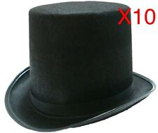 10 BLACK TOP HAT COSTUME MAGICIAN WEDDINGS ADULT DANCE MAD HATTER PARTY FORMAL