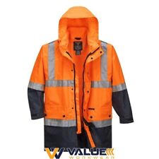 Lightweight Hi-vis Rain Jacket With Tape 9xl Orange-navy Regular