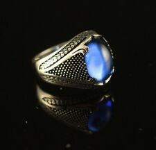 TURKISH HANDMADE STERLING SILVER 925K SAPPHIRE MEN'S RING  SIZE 9,10,11,12