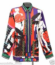 $1,595 BRAND NEW VERSACE CUBA PRINT 100% SILK SHIRT size IT 48 - US M