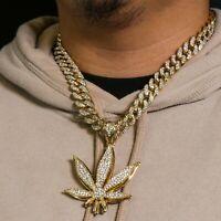 "Big Marijuana Pendant Clear Cz 14k Gold Plated ICED Miami Cuban Choker Chain 20"""
