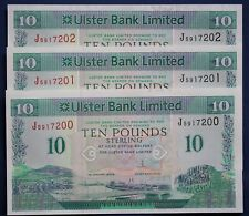 "2014 Ulster Bank, Ten pound, £10 banknotes, 3x consecutive aUNC ""00"" *[10808]"