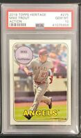 2018 Topps Heritage PSA 10 Mike Trout Action SP