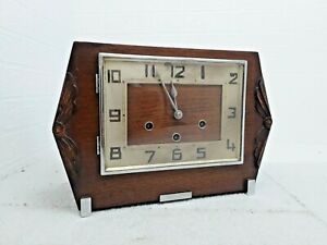Haller Mantel Clock Wooden Westminster Chime Art Deco Silver Carved Decorative