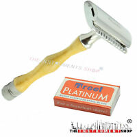 New Shaving Safety Razors Double Edge Razor Design Wooden Handle 10 Blades Free