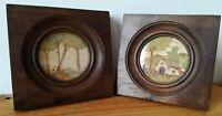 Paire de petites aquarelles ( et encre ) 19ème sous verre cadre en bois massif