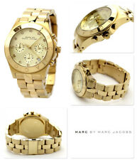 NEW MARC JACOBS BLADE GOLD TONE,CRYSTALS CHRONOGRAPH BRACELET WATCH-MBM3101