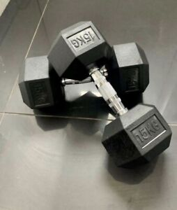2x 15kg HEX DUMBBELL Commercial Gym Rubber Pro Weights BOXED UK NEW Dumbell