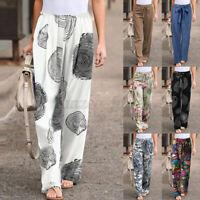 UK Women Floral Elastic Waist Wide Leg Long Trousers Casual Palazzo Pants Plus