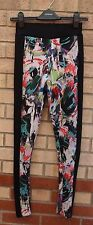 TOPSHOP MULTI COLOR PRINT BLACK SIDES THICK TIGHT LEGGINGS TROUSERS PANTS 8 S