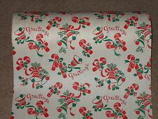 VTG 1950's CHRISTMAS DEPT. STORE WRAPPING PAPER 2 YARDS GIFT WRAP BELLS GREETING