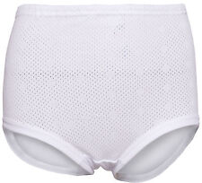 NEW Ladies White 100% Cotton Briefs, Eyelet Rib Leg by White Swan