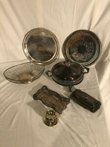 Box Lot of vintage and antique Silver-plate pieces.