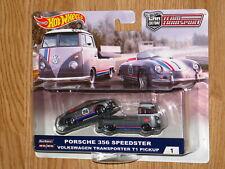 HOT WHEELS TEAM TRANSPORT CAR CULTURE #1 PORSCHE 356 w TRANSPORTER T1 PICKUP MOC