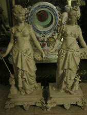 Pair Antique Figures/Statue paint decorated Metal Statues Clock Garniture Lamps