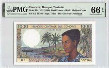 Comoros ND (1986) P-11a PMG Gem UNC 66 EPQ 1000 Francs