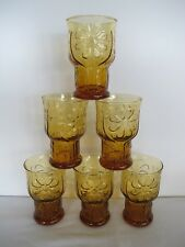 """6 VINTAGE LIBBY COUNTRY GARDEN  DAISY AMBER MID CENTURY 4"""" JUICE GLASSES"""