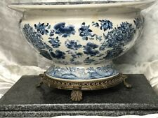 Ming Style Antique Blue White Porcelain Centrepiece Bowl With Bronze Base Legs