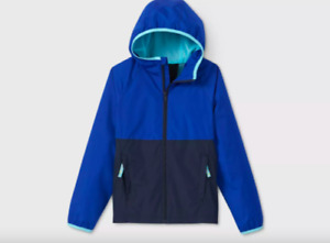 All In Motion Boy's Hooded Windbreaker Jacket Water Wind Repellent Blue (S or L)