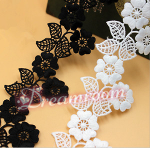 2YDS,Lace Edge Trim Ribbon Flower Embroidered Fabric Applique Sewing Craft BF333