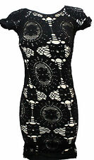 NEW Aeropostale Juniors Black Lace Dress XS Short Sleeve Stretch