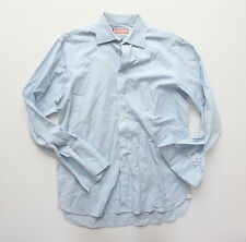 Thomas Pink Superfine Twofold 170's French Cuff Dress Shirt Blue Stripe 15.5 34