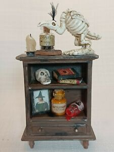 Dollhouse Miniature Haunted Halloween Witch Potion Cabinet   - OOAK - 1:12 Scale