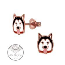 .925 Sterling Silver Enamel Stud (D989) Little Dog Husky Earrings Rose Gold