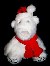 Bath and Body Works White Holiday POLAR BEAR w/ Santa Hat /Red Scarf  Free S&H