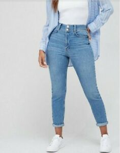 V by Very New Shaping Slim Straight Leg Jean In Mid Wash Turn Ups Size 16 Bnwt