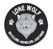 LONE WOLF IN ROUND SHAPE Iron on Small Patch for Biker Vest SB897