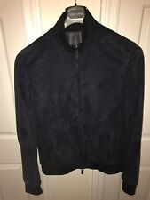 $6500 GIORGIO ARMANI BLACK LABEL NEW NAVY BLUE SUEDE BOMBER JACKET SIZE 52/L NEW