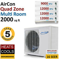 45000 BTU 4 Quad Zone Ductless Air Conditioner Mini Split AC Multi Heat Pump