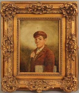 Antique JOHN W BROWN Genre Portrait Oil Painting Newspaper Boy Smoking Cigarette