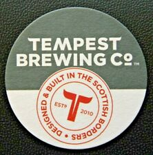 TEMPEST BREWING CO BEER MAT, SCOTTISH BORDERS - DOUBLE SIDED DESIGN. 4 INCH