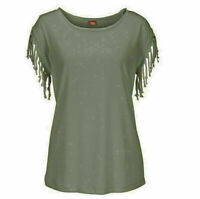 Women Fashion Cuffs Tassel Knotted Round Neck T-Shirt Casual Loose Tops Blouse