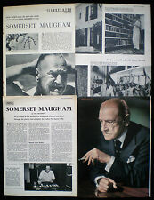 W. WILLIAM SOMERSET MAUGHAM WRITER AUTHOR NOVELIST 5pp PHOTO ARTICLE 1954