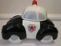 Vintage Ceramic Police Car Cookie Jar, Volkswagen type, Old Fashioned
