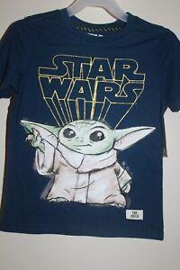 STAR WARS Mandalorian Grogu THE CHILD Boy's Tee Shirt Baby Yoda Sketch in Blue