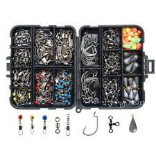 160pcs Fishing Accessories Set Jig Hooks Sinker Weights Swivels Snaps Tackle Box