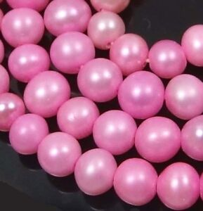 """A++ 5mm  Pink Freshwater Pearl Smooth Potato Round Beads 16"""""""