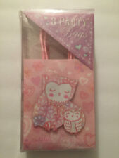 Gift Bags Punch Studio Owl Party Glittered Pink and White 8 Count