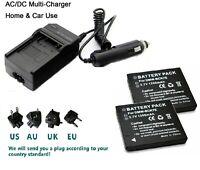 2X Battery+charger for Panasonic DMW-BCK7E Lumix DMC-FS14 DMC-FS16 DMC-FS18
