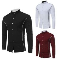 Floral Luxury Casual Shirt Mens Top Dress Shirts Slim Fit Long Sleeve Stylish
