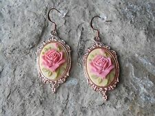 PINK ROSE ON TAN, BEIGE CAMEO ROSE GOLD TONE COPPER EARRINGS - QUALITY - UNIQUE