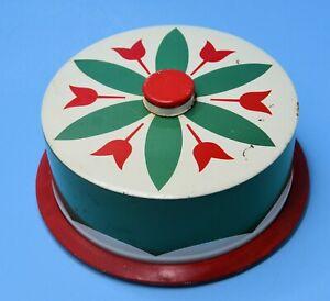 Vtg 50s Metal Tin Cake Pie Saver Carrier PA Dutch Green Red Tulip Retro Kitchen
